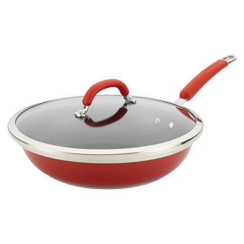 Rachael Ray Stainless Steel Colors 12-Inch Covered Nonstick Deep Skillet, Red