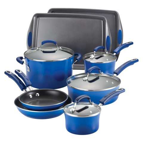 Rachael Ray Porcelain II Nonstick 12-Piece Set, Blue Gradient