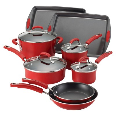 Rachael Ray Porcelain Nonstick 12Pcs Cookware Set - Red Gradient