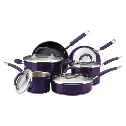Rachael Ray Stainless Steel Colors 10-Piece Set, Eggplant