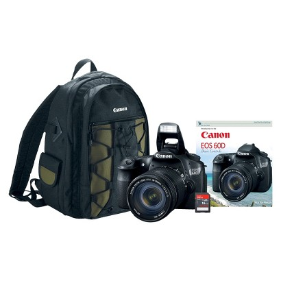 Canon EOS Rebel 60D 18MP Digital SLR Camera with 18-135mm IS Lens, Backpack, Memory Card, and DVD - Black