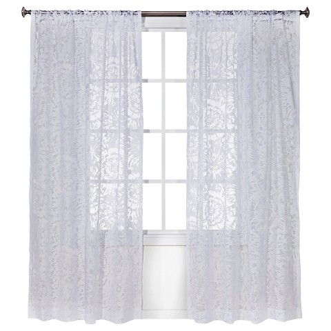 Threshold™ Floral Botanical Burnout Sheer Curtain Panel - White