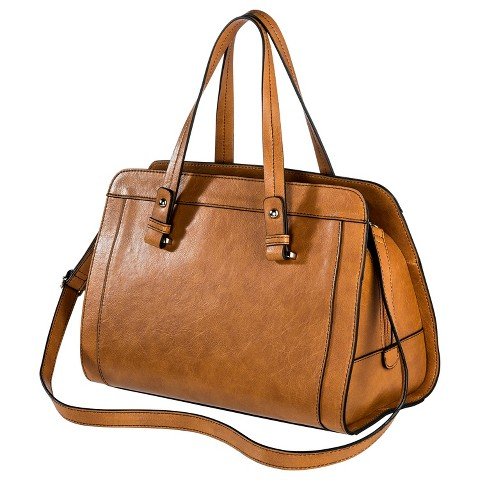 Women's Faux Leather Satchel Handbag with Removable Crossbody Strap Cognac- Merona™