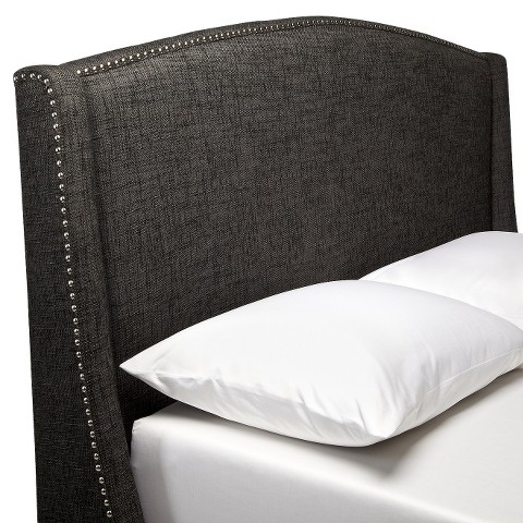 Nailbutton Wingback Headboard - Charcoal