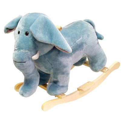 Happy Trails Plush Rocking Elephant - Gray