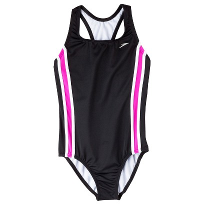 Speedo Girls' 1-Piece Racer Back Splice Swimsuit