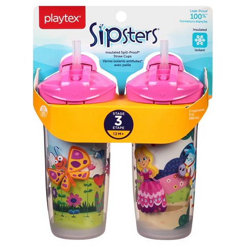Playtex Sipsters Stage 3 Insulated Straw Sippy Cup 9oz 2 Pack Assorted Colors