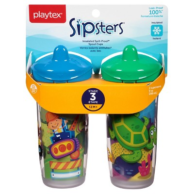 Playtex Sipsters Stage 3 Insulated Spout Sippy Cup 9oz 2 Pack Assorted Colors