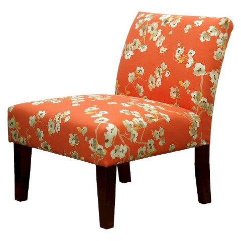 Avington Upholstered Slipper Chair Coral/White Floral