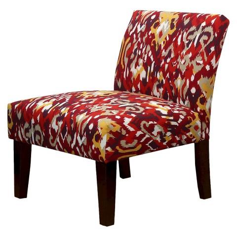 Avington Upholstered Slipper Chair - Red Ikat
