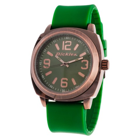 Dickies® Men's Flexible Strap Antique Finish Analog Watch - Copper/Green