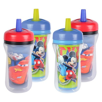 The First Years 4pk Disney Straw Cup - Cars/Mickey Mouse