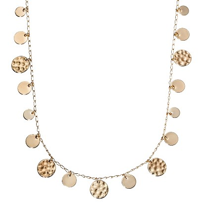 Lonna & Lilly Short Necklace with Shaky Disc Stations - Gold