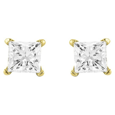 Princess-Cut Diamond Stud Prong Set Earrings in 10K Yellow Gold (IJ-I2-I3)- in Assorted CT. T.Ws