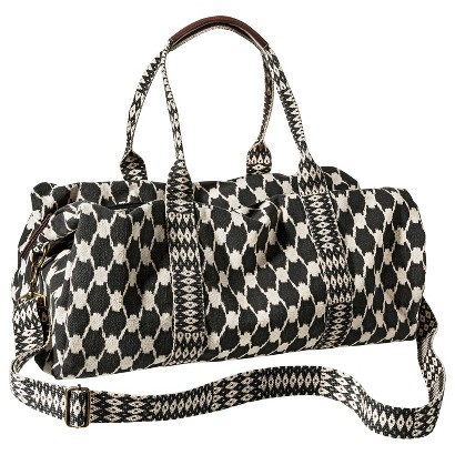 Mossimo Supply Co. Geometric Weekender Duffle Handbag with Removable Shoulder Strap - Black/Ivory