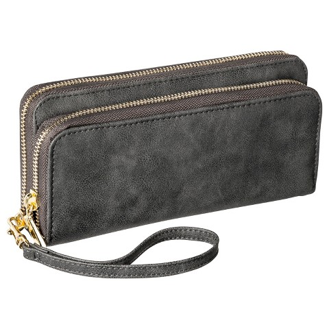 Merona® Solid Double Zipper Wallet with Removable Wristlet Strap - Gray