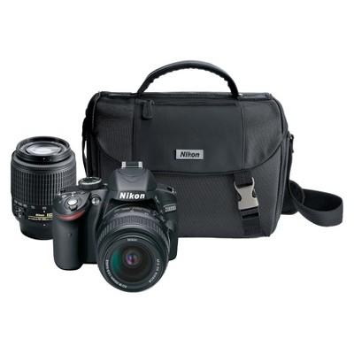 Nikon D3200 24.2MP Digital SLR Camera with 18-55mm and 55-200mm Lenses - Black