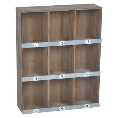 Wooden Numbered Wall Shelf - 9-Slot