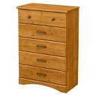 South Shore Cabana Country Pine Vertical Dresser