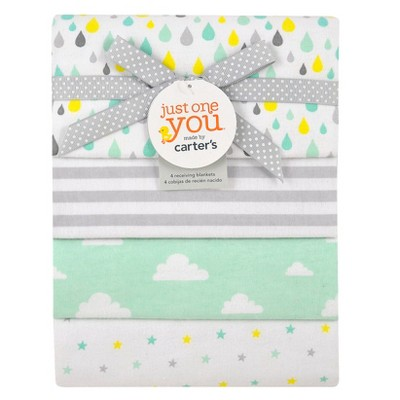 Just One You Made by Carter's® Aqua 4pk Receiving Blankets