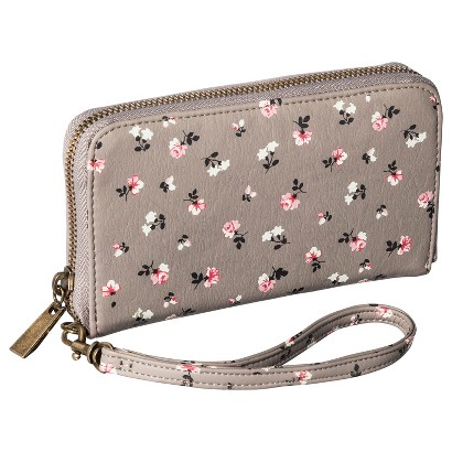 Merona® Floral Printed Phone Case Wallet with Removable Wristlet Strap - Taupe