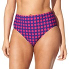 Women's Plus-Size Bikini Swim Bottom - Cobalt Blue/Fire Red