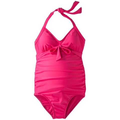 Women's Maternity Halter One-Piece Swimsuit - Assorted Colors