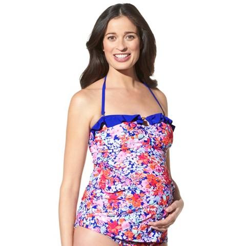 Maternity Cinched Ruffled Tankini Swim Top