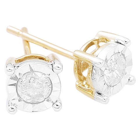Diamond Solitaire Stud Illusion Set Earrings in 10K Yellow Gold