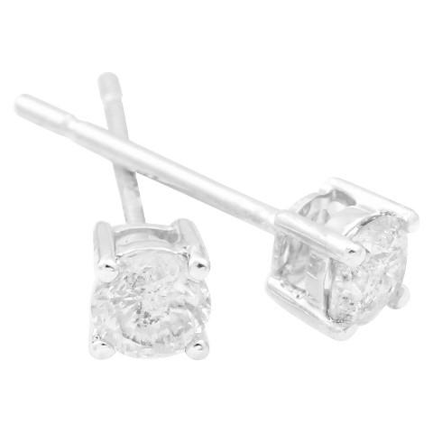 3/4 CT. T.W. Diamond Solitaire Stud Earrings in 10K - White Gold