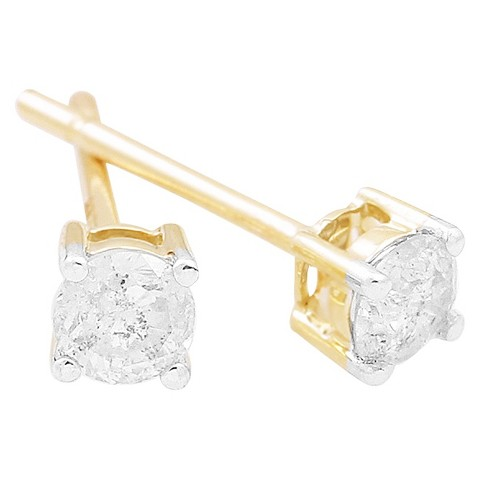 1/2 CT. T.W. Diamond Solitaire Stud Earrings in 10K - Yellow Gold