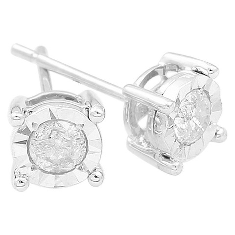 1/3 CT. T.W. Diamond Solitaire Illusion Stud Earrings in 10kt - White Gold