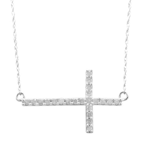 1/4 CT. T.W. Diamond Horizontal Cross Necklace in Sterling Silver
