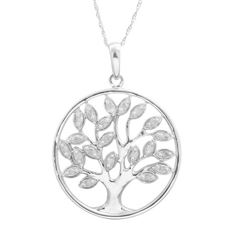 1/4 CT. T.W. Diamond Tree Of Life Pendant in Sterling Silver