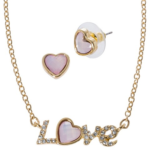 "Lonna & Lilly ""Love"" Necklace and Earring Set with Stone - Gold/Pink"