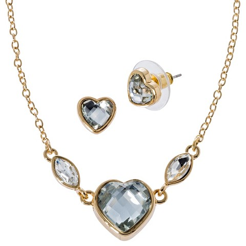 Lonna & Lilly Heart Necklace and Earring Set with Stone - Gold/Clear