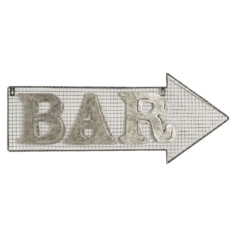 Wall Mounted Metal Bar Sign - Arrow
