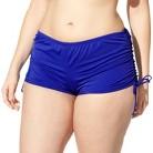 Women's Plus-Size Side-Tie Swim Shorts - Cobalt Blue