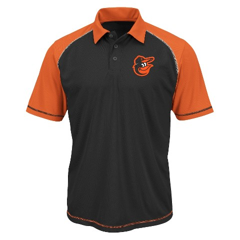 Baltimore Orioles Men's Synthetic Polo T-Shirt Black/Orange