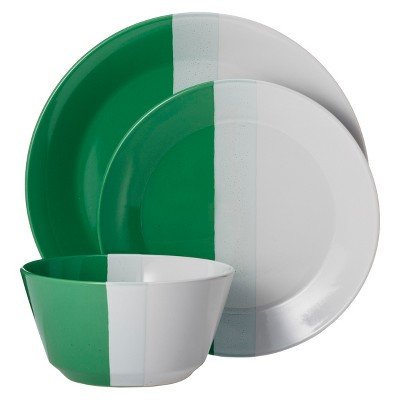 Room Essentials™ Tri-Band 12 Piece Dinnerware Set - Fresh Green