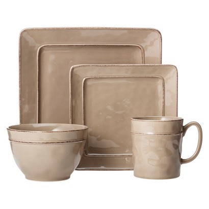 THRESHOLD™ WELLSBRIDGE SQUARE CERAMIC 16 PIECE DINNERWARE SET - LIGHT GREY