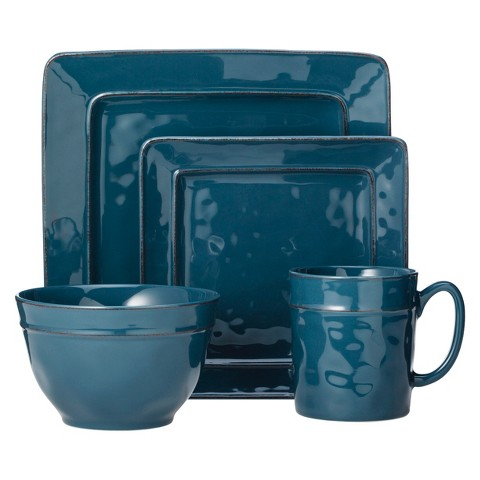 Threshold™ Wellsbridge Square Ceramic 16 Piece Dinnerware Set - Azure Blue