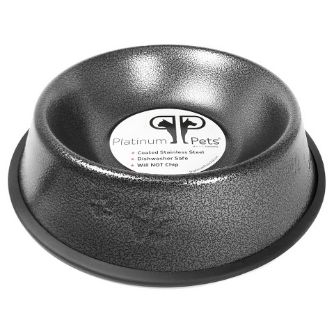 Platinum Pets Stainless Steel Embossed Non-Tip Puppy Bowl