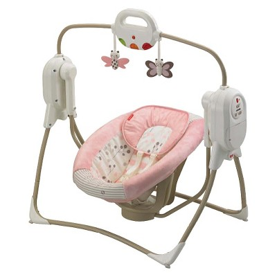 Fisher-Price Twinkling Lights Space Saver Cradle 'n Swing - Berry