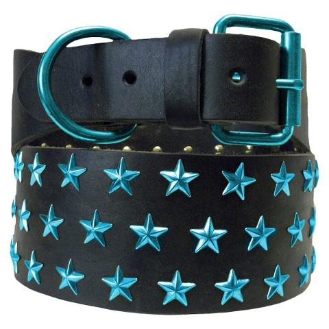 Platinum Pets Genuine Leather Big Dog Collar with Three Rows of Stars