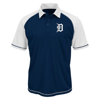 MLB Men's Detroit Tigers Synthetic Polo T-Shirt - Navy/White