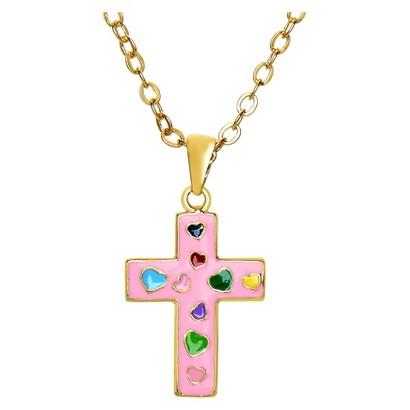 Lily Nily 18K Gold Overlay Enamel Children's Cross Pendant - Pink