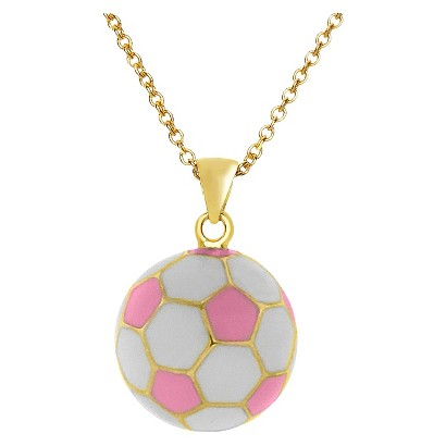 Lily Nily 18K Gold Overlay Enamel Children's Soccer Ball Pendant - Pink/White