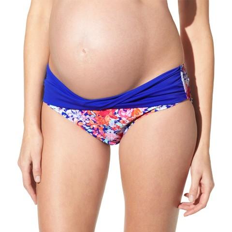 Maternity Twist Front Hipster Swim Bottom Cobalt Blue
