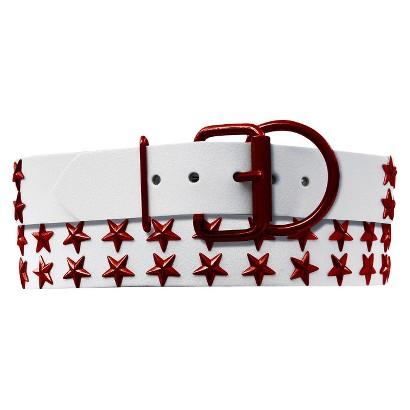 Platinum Pets White Genuine Leather Dog Collar with Stars